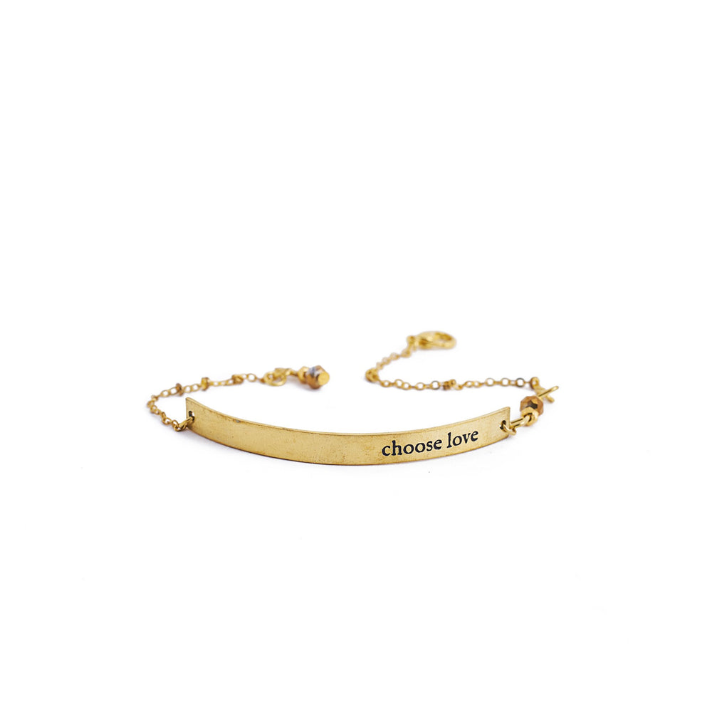 Load image into Gallery viewer, bracelet brass quote gold inspiration love
