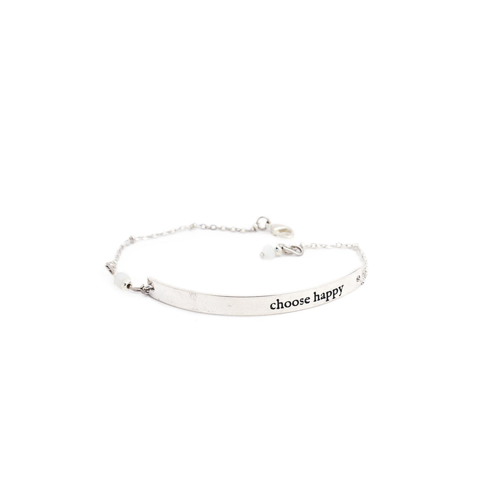 Load image into Gallery viewer, bracelet brass quote silver choose happy