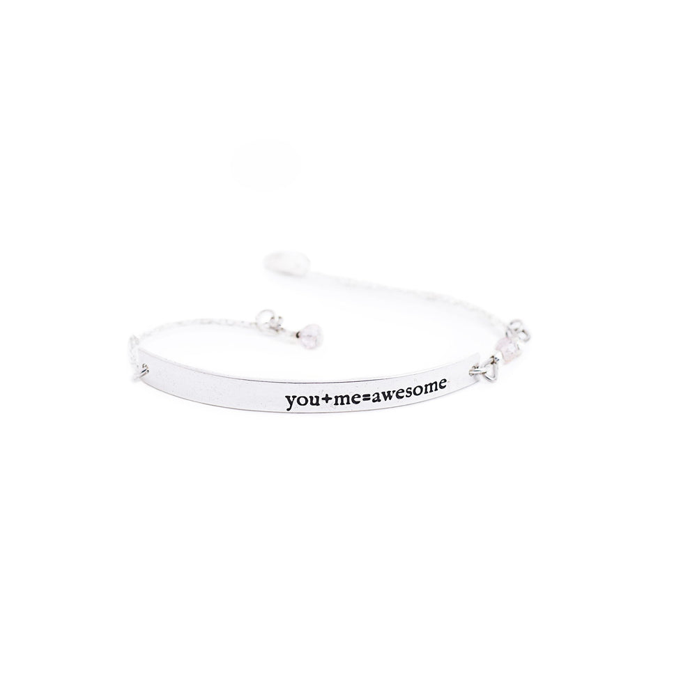 Load image into Gallery viewer, bracelet brass quote silver