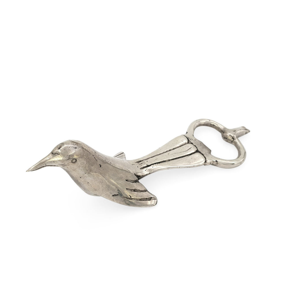 Load image into Gallery viewer, Solid brass bird bottle opener silver front