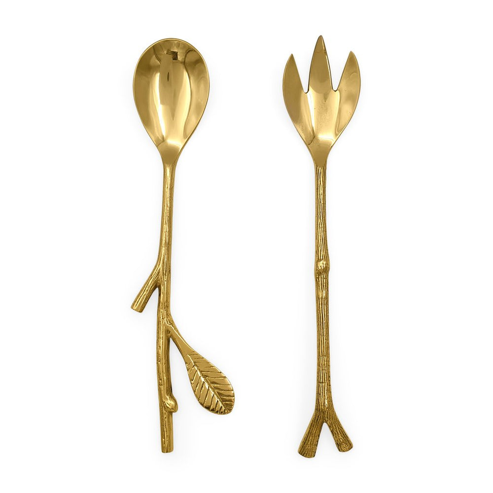 Handmade brass serving cutlery twig & leaf