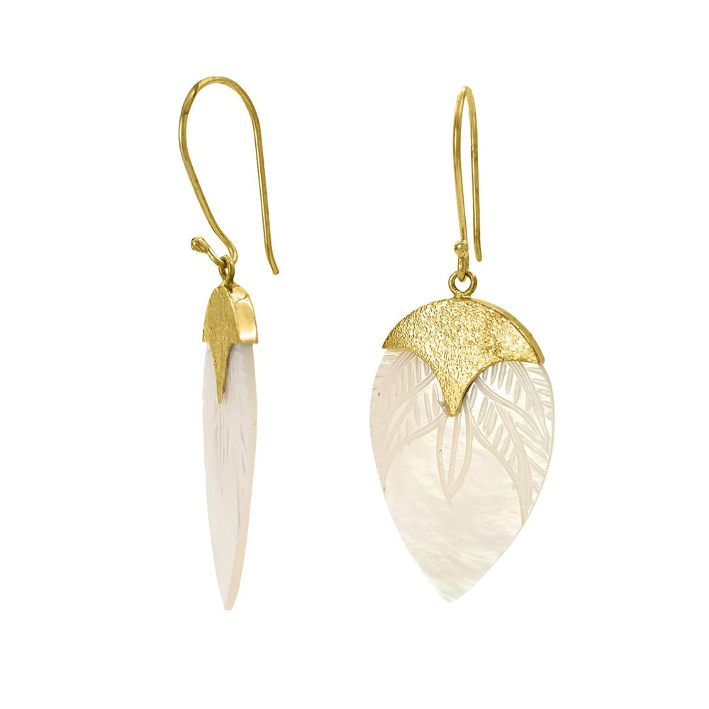 Load image into Gallery viewer, Brass and hand carved shell drop earring side view