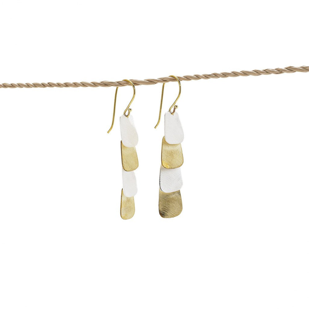 Load image into Gallery viewer, earring 4 rectangle mix gold silver plated side