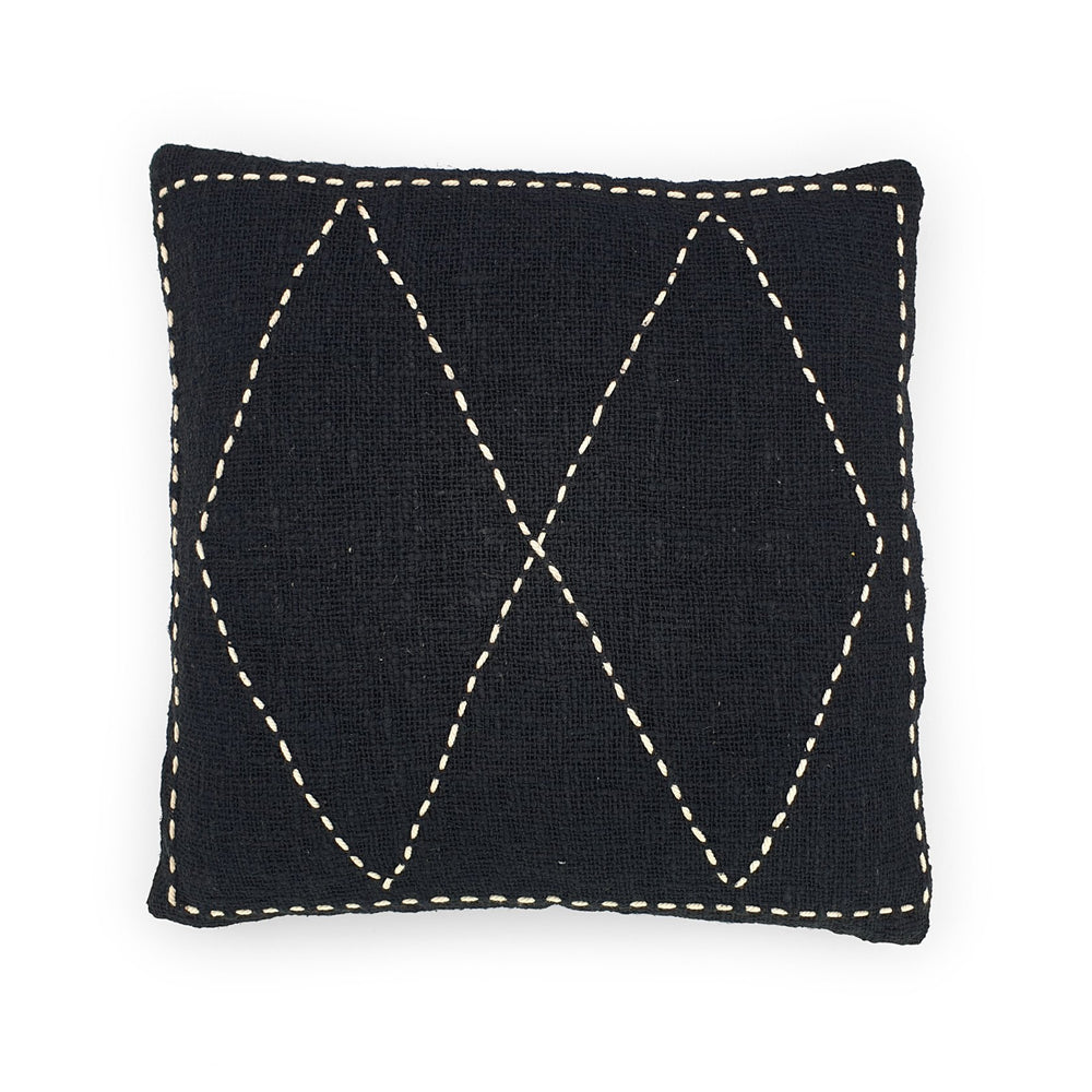 Load image into Gallery viewer, black hand embroidery cotton pillow double diamond