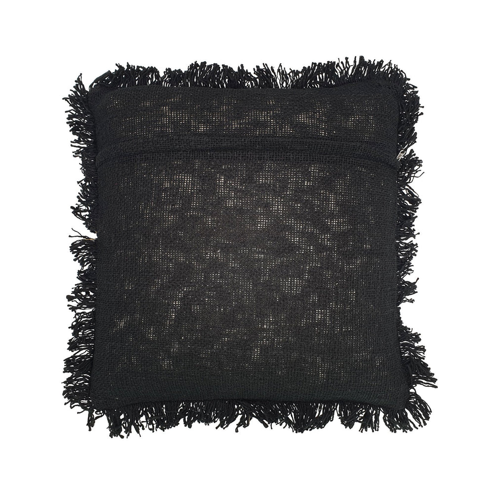 black hand embroidery cotton pillow with fringes back