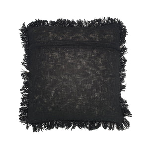Load image into Gallery viewer, black hand embroidery cotton pillow with fringes back