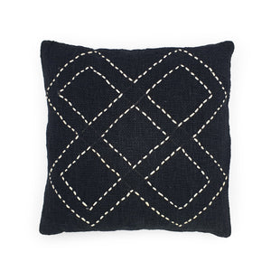Load image into Gallery viewer, black hand embroidery cotton pillow 5 diamonds
