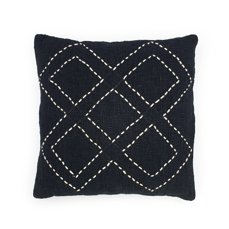 black hand embroidery cotton pillow 5 diamonds
