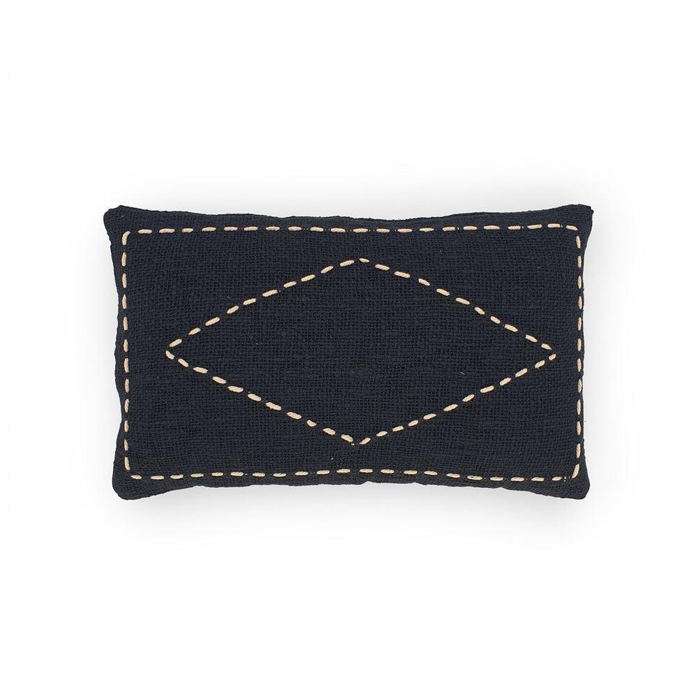 black rectangle hand embroidery cotton pillow diamond