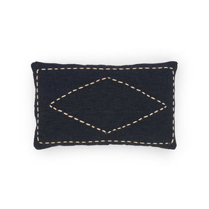 Load image into Gallery viewer, black rectangle hand embroidery cotton pillow diamond