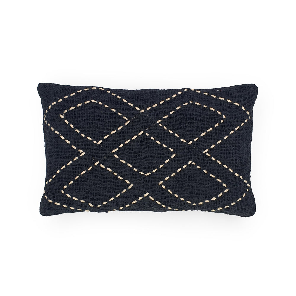 Load image into Gallery viewer, black rectangle hand embroidery cotton pillow 5 diamonds