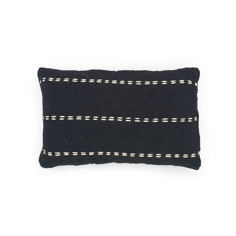 black rectangle hand embroidery cotton pillow lines