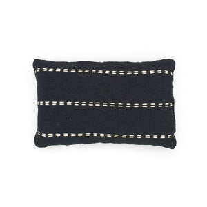 Load image into Gallery viewer, black rectangle hand embroidery cotton pillow lines