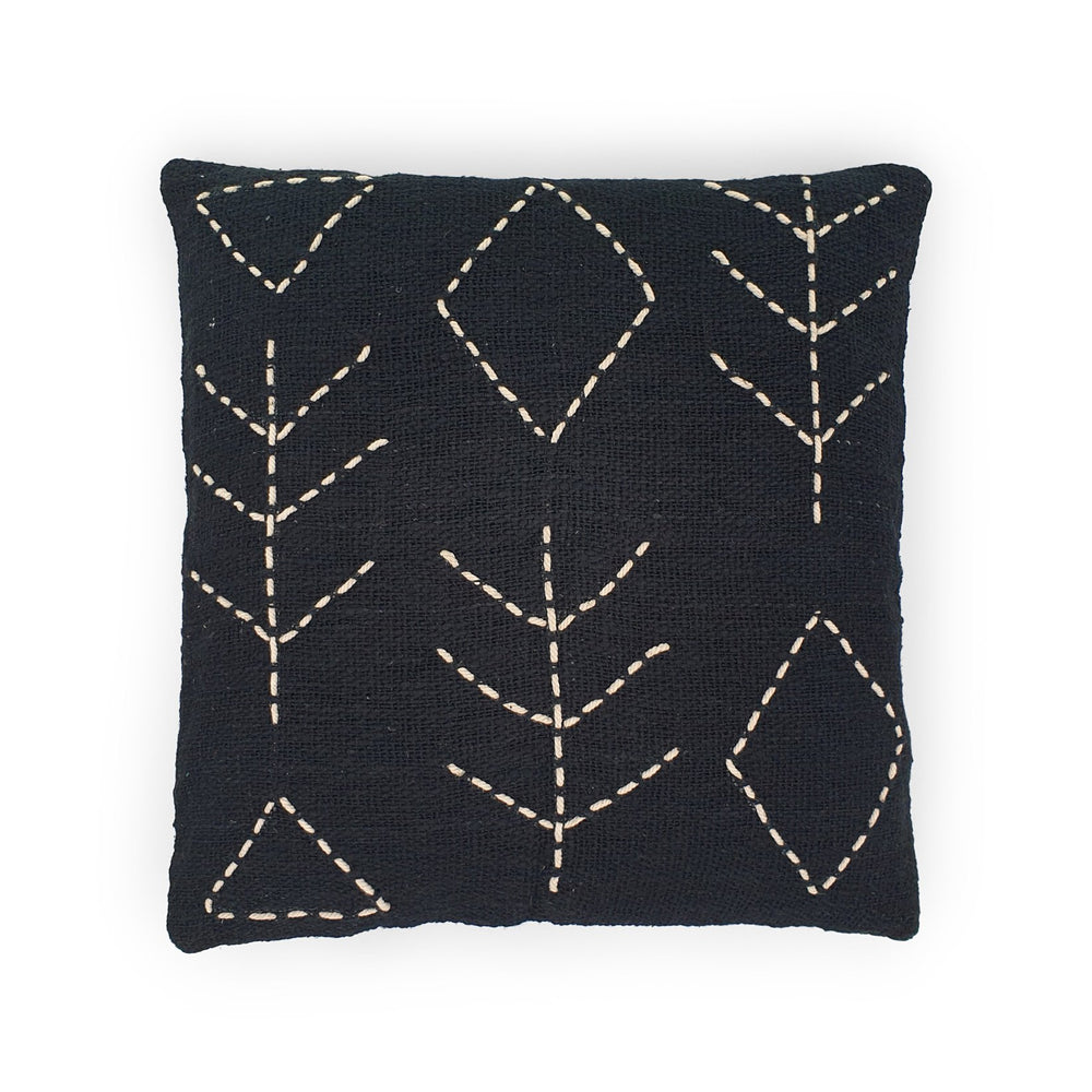 black hand embroidery cotton pillow tree & diamond