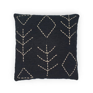Load image into Gallery viewer, black hand embroidery cotton pillow tree & diamond