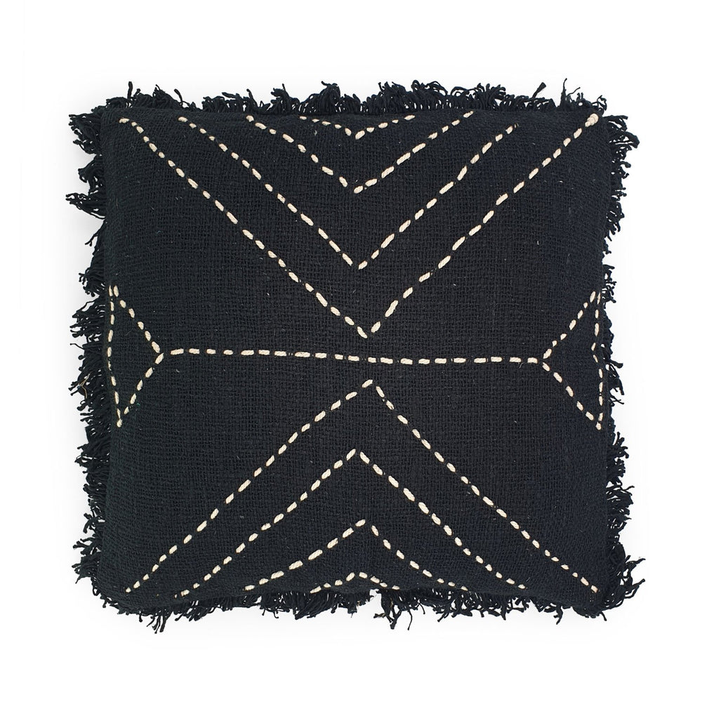 black hand embroidery cotton pillow with fringes triangle