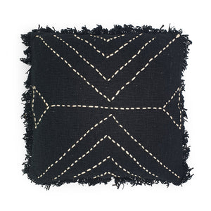Load image into Gallery viewer, black hand embroidery cotton pillow with fringes triangle