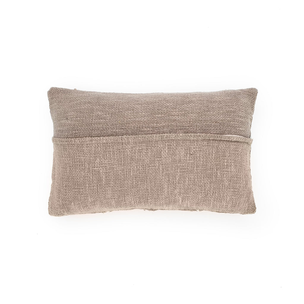 sandy grey rectangle hand embroidery cotton pillow back