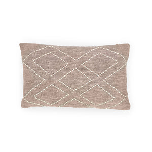 Load image into Gallery viewer, sandy grey rectangle hand embroidery cotton pillow 5 diamonds