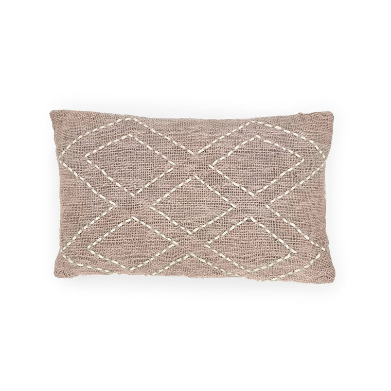 sandy grey rectangle hand embroidery cotton pillow 5 diamonds