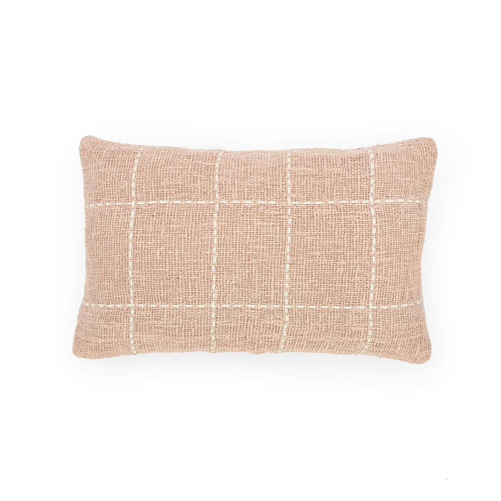 pink rectangle hand embroidery cotton pillow squares