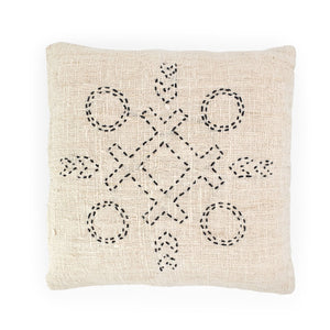 Load image into Gallery viewer, white hand embroidery cotton pillow circles