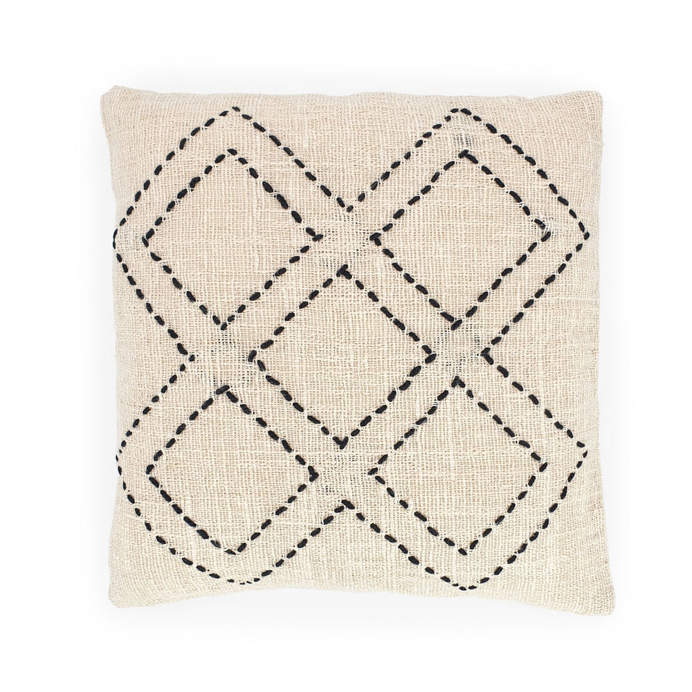white hand embroidery cotton pillow 5 diamonds