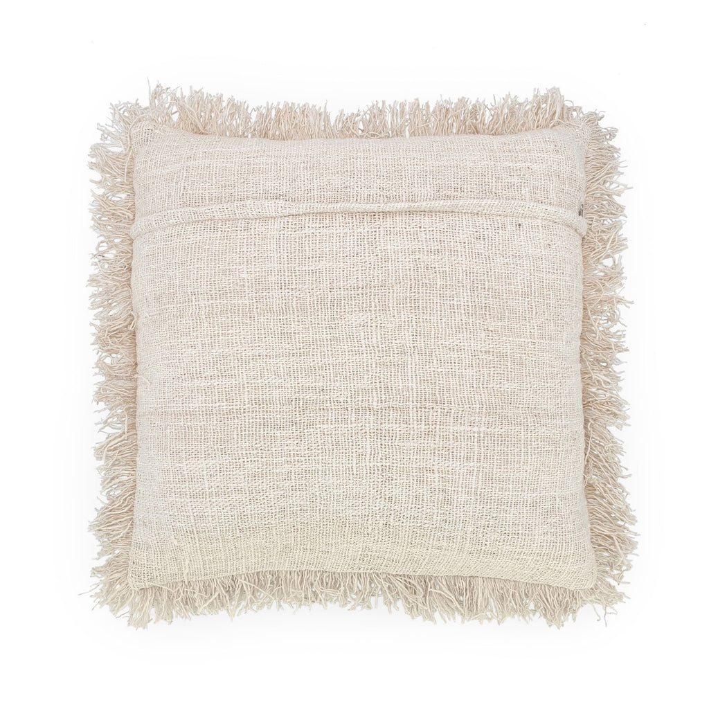 white hand embroidery cotton pillow with fringes back