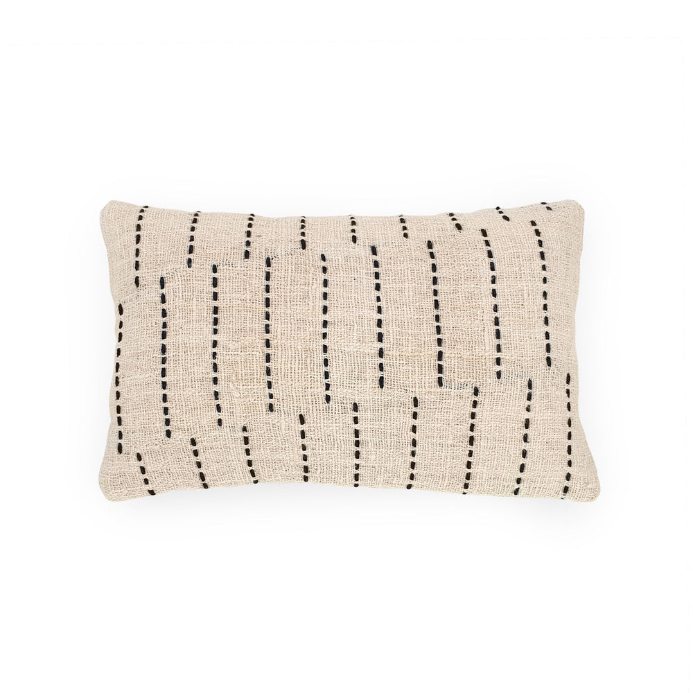 white rectangle hand embroidery cotton pillow stripe & lines