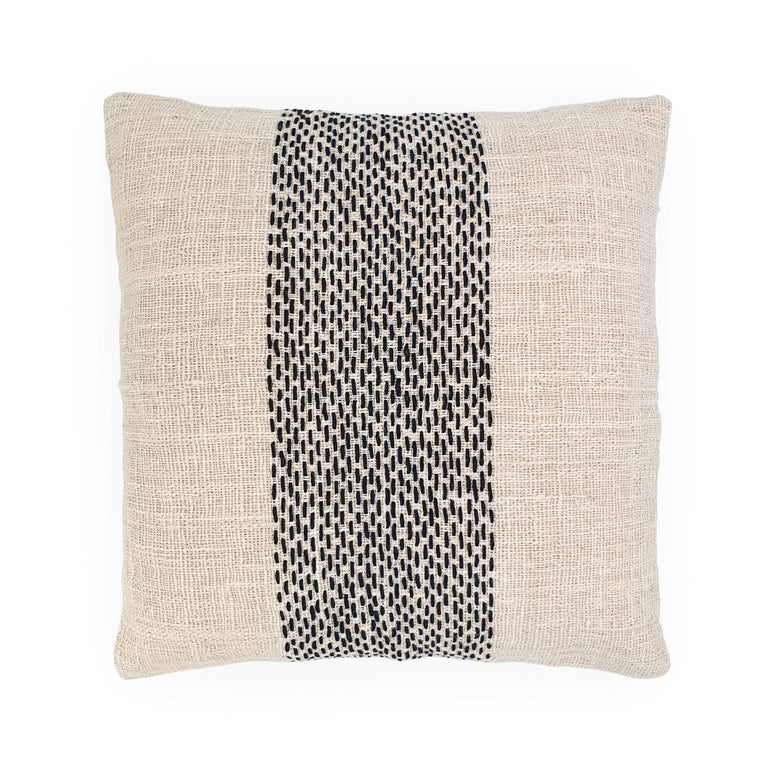 white embroidery cotton pillow stripe