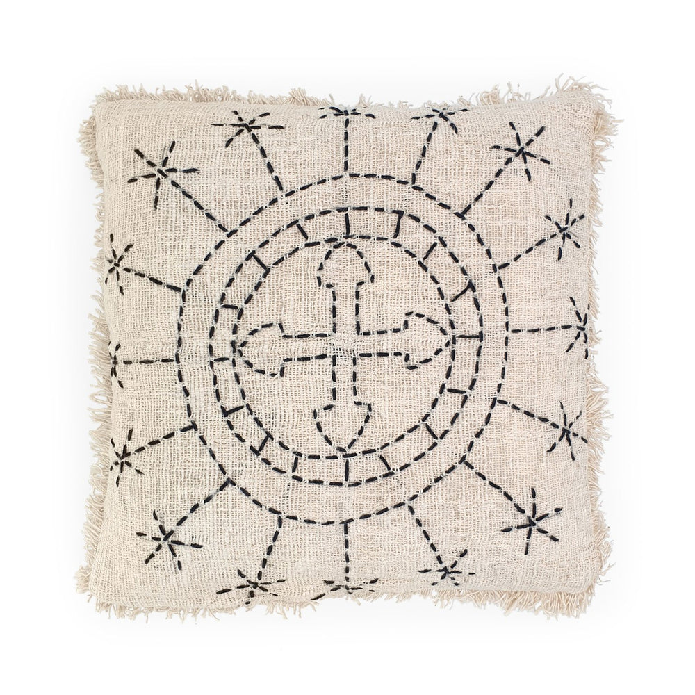 Load image into Gallery viewer, white hand embroidery cotton pillow with fringes sun cross