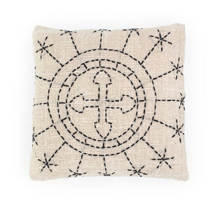 Load image into Gallery viewer, white hand embroidery cotton pillow sun cross