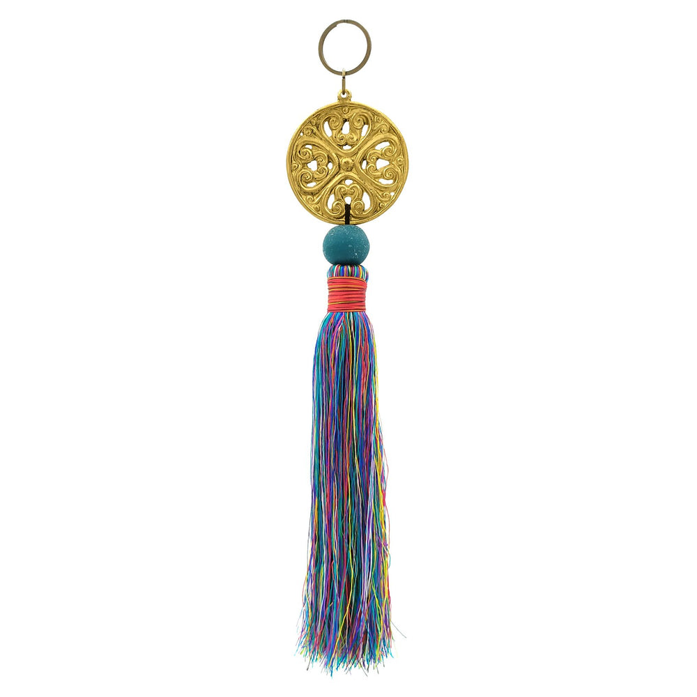 Load image into Gallery viewer, Keychain with metal ornament in gold color and mix blue tassel