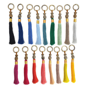 Load image into Gallery viewer, Keychain brass gold pineapple tassel S