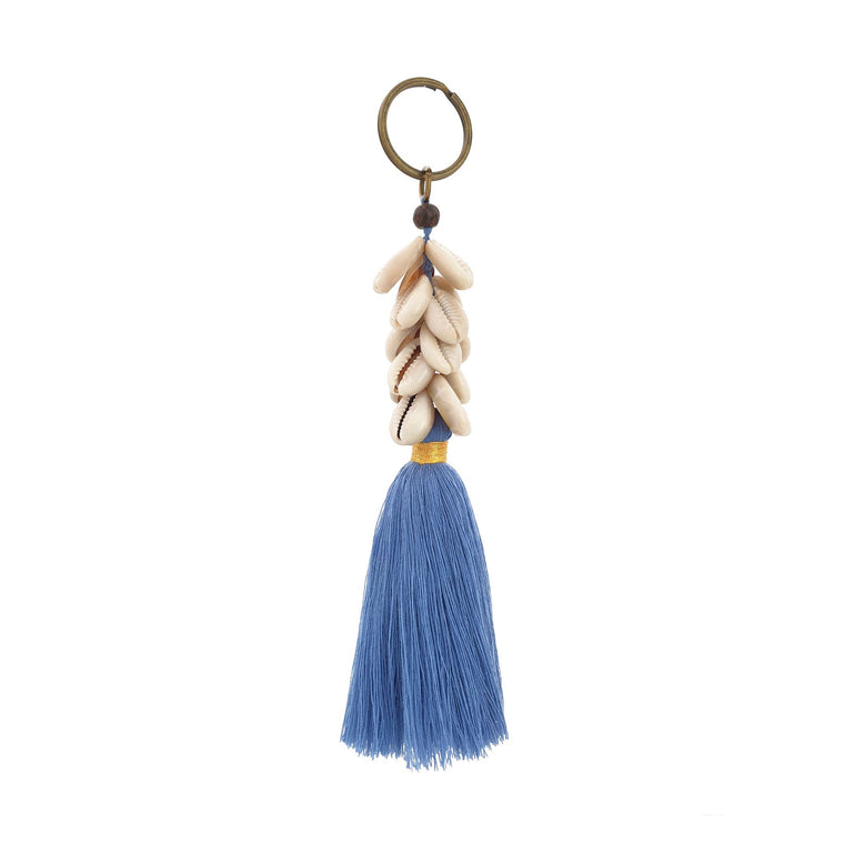Keychain ocean blue tassel with shell
