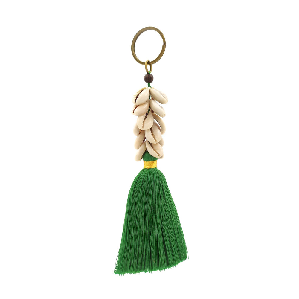 Load image into Gallery viewer, Keychain green tassel with shell