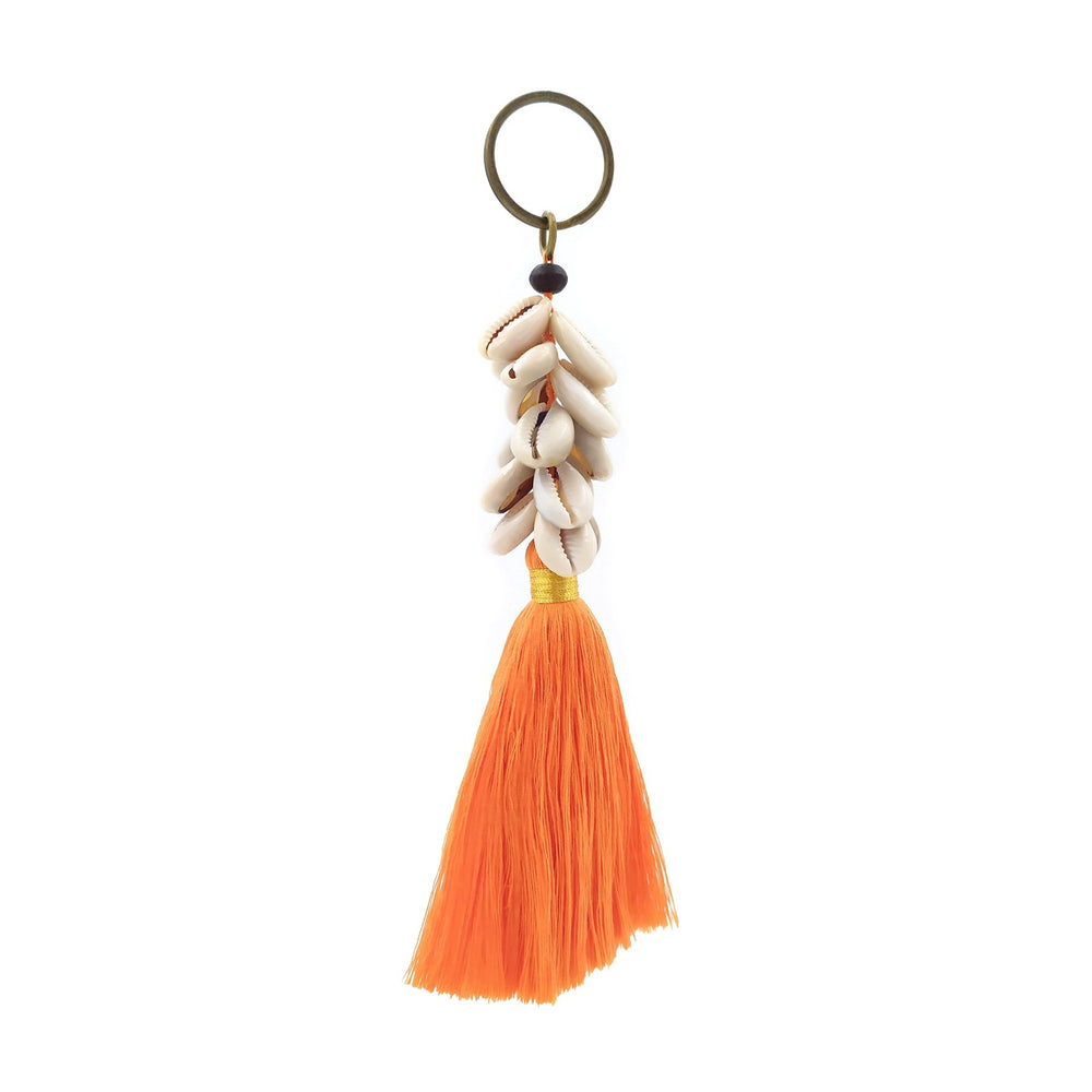 Load image into Gallery viewer, Keychain orange tassel with shell