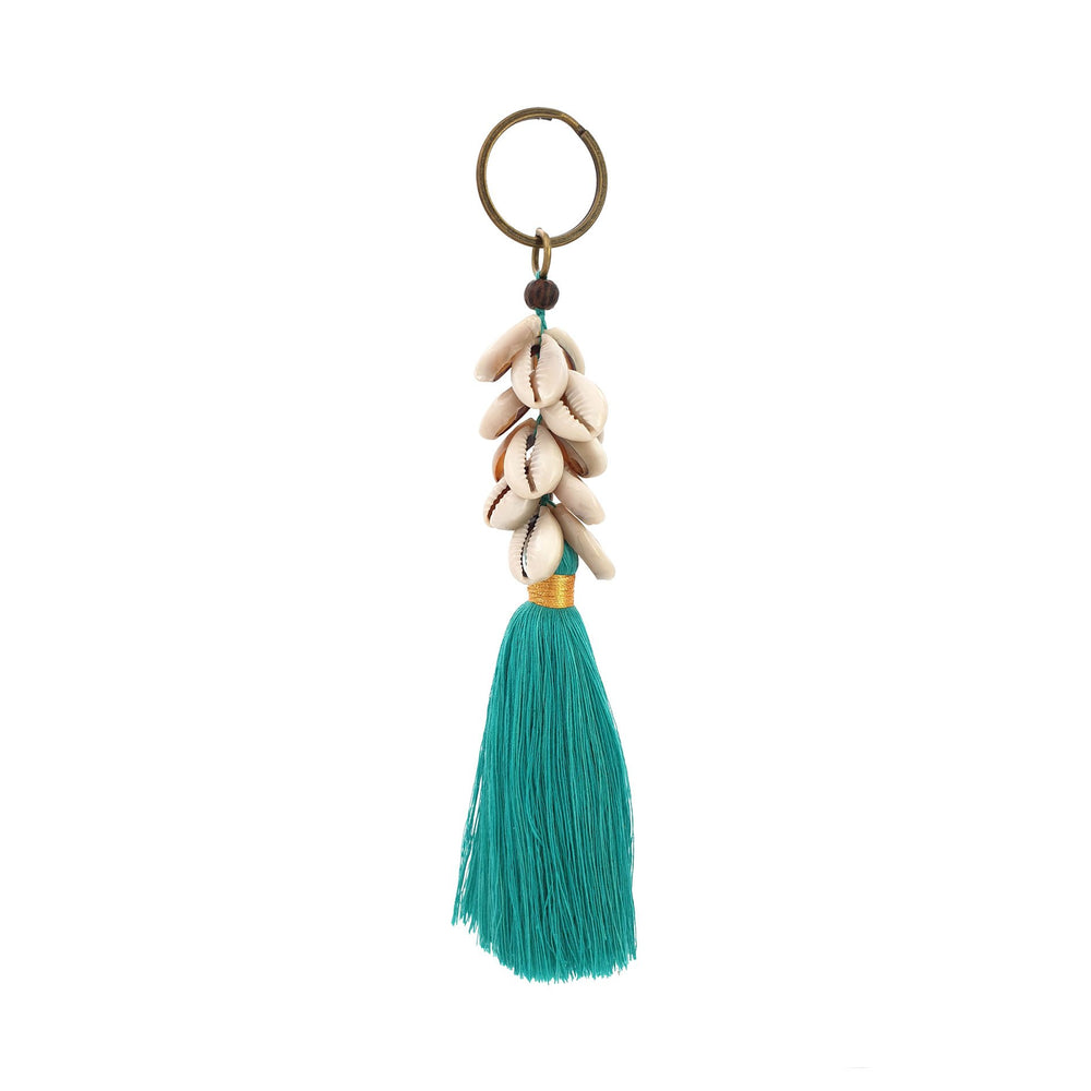 Load image into Gallery viewer, Keychain turquoise tassel with shell