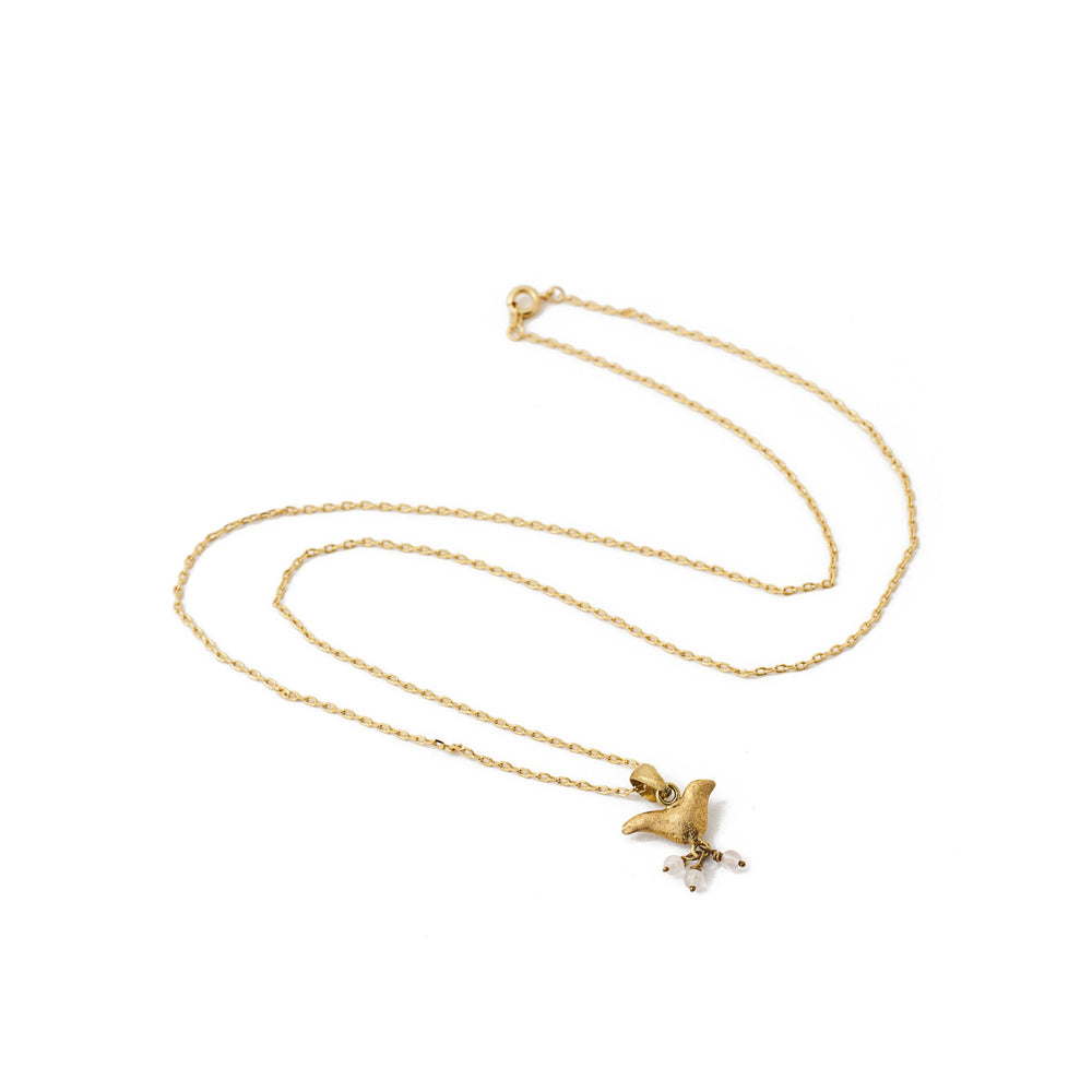 Load image into Gallery viewer, necklace animal charm bird white stone gold