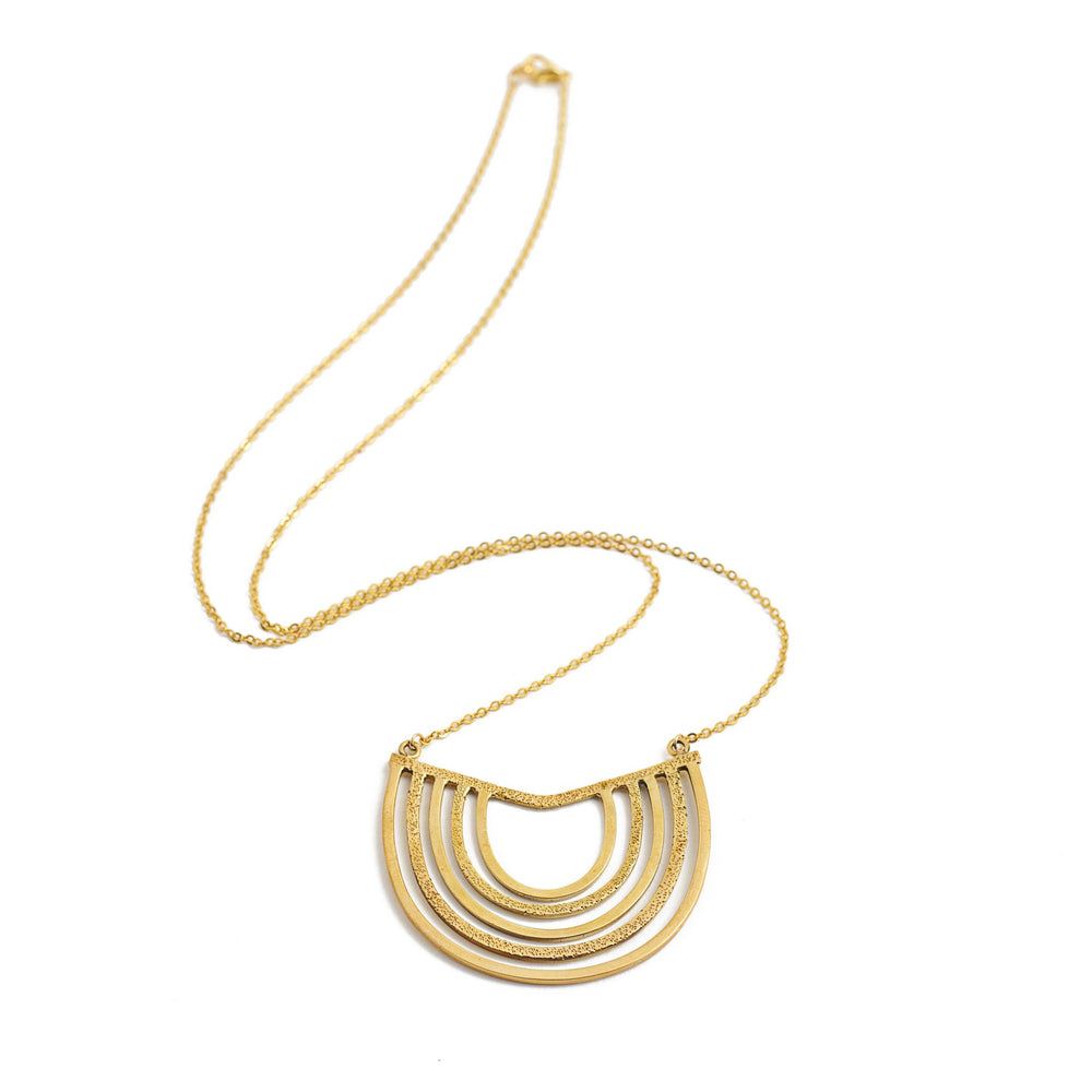 necklace boho half circle gold