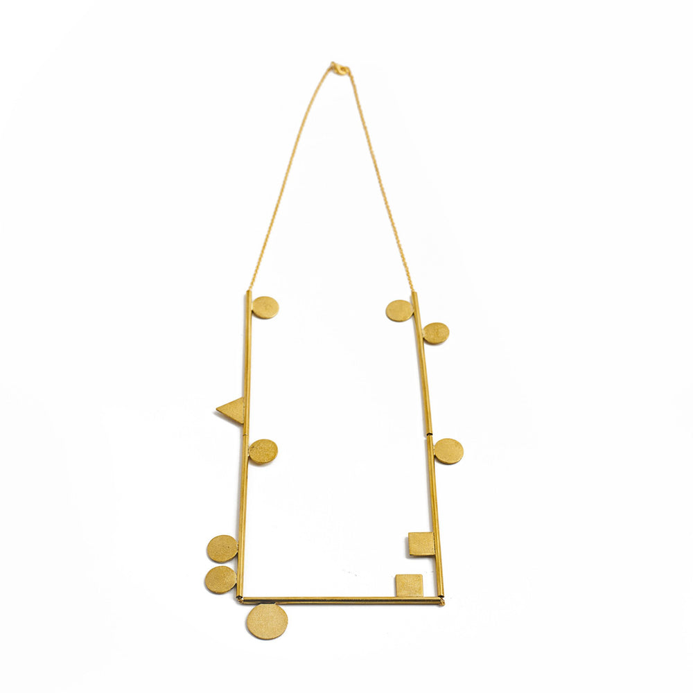 Handmade brass minimalist geometric necklace