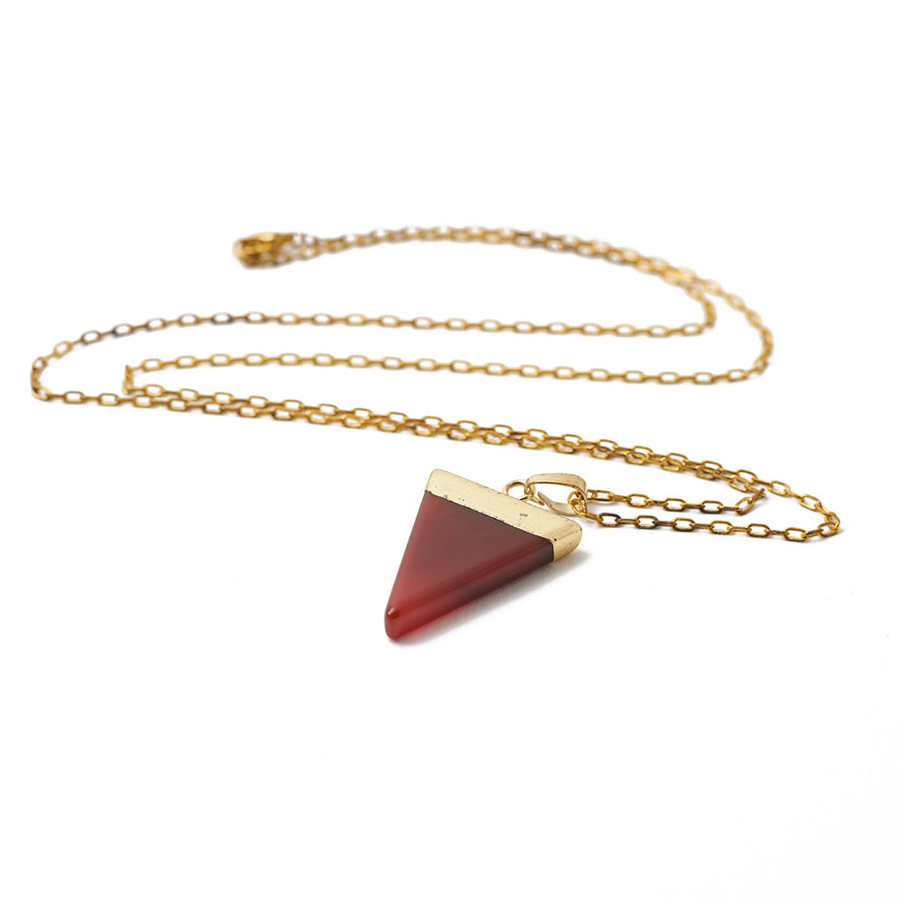 necklace stone triangle agate gold
