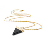necklace stone triangle onyx gold