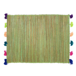 Load image into Gallery viewer, green placemat with mix color tassel