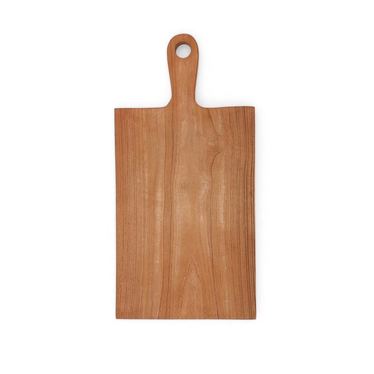 rectangle teak wood cutting board rounded handle w hole