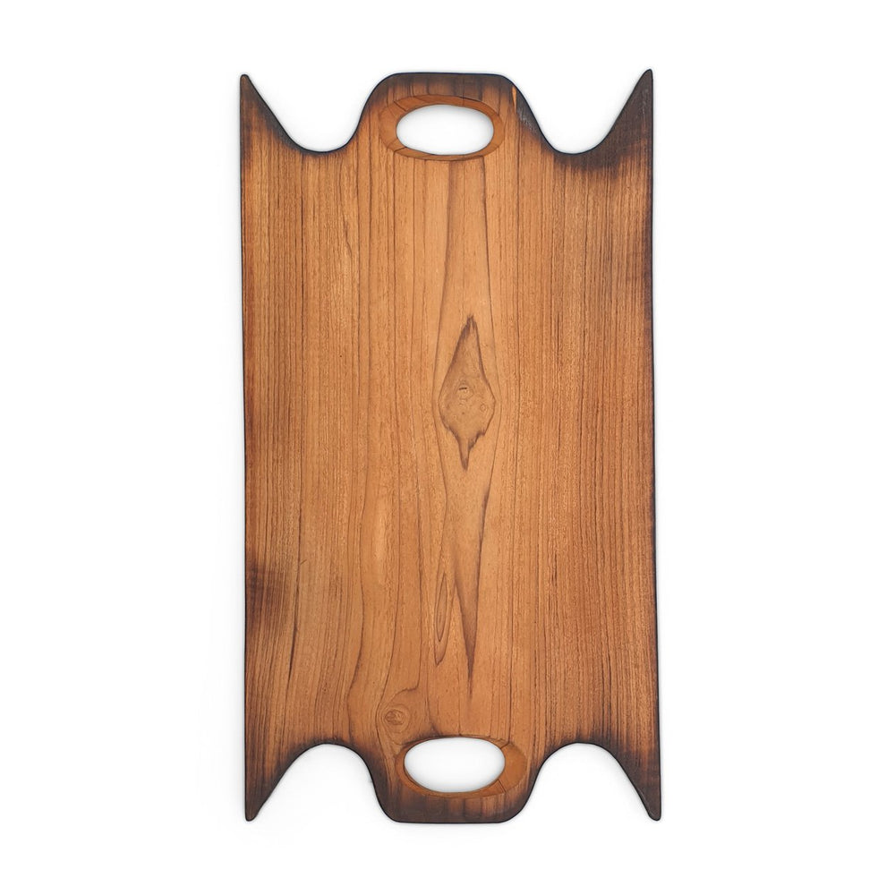 Teak wood cutting board rectangle XL burned edge