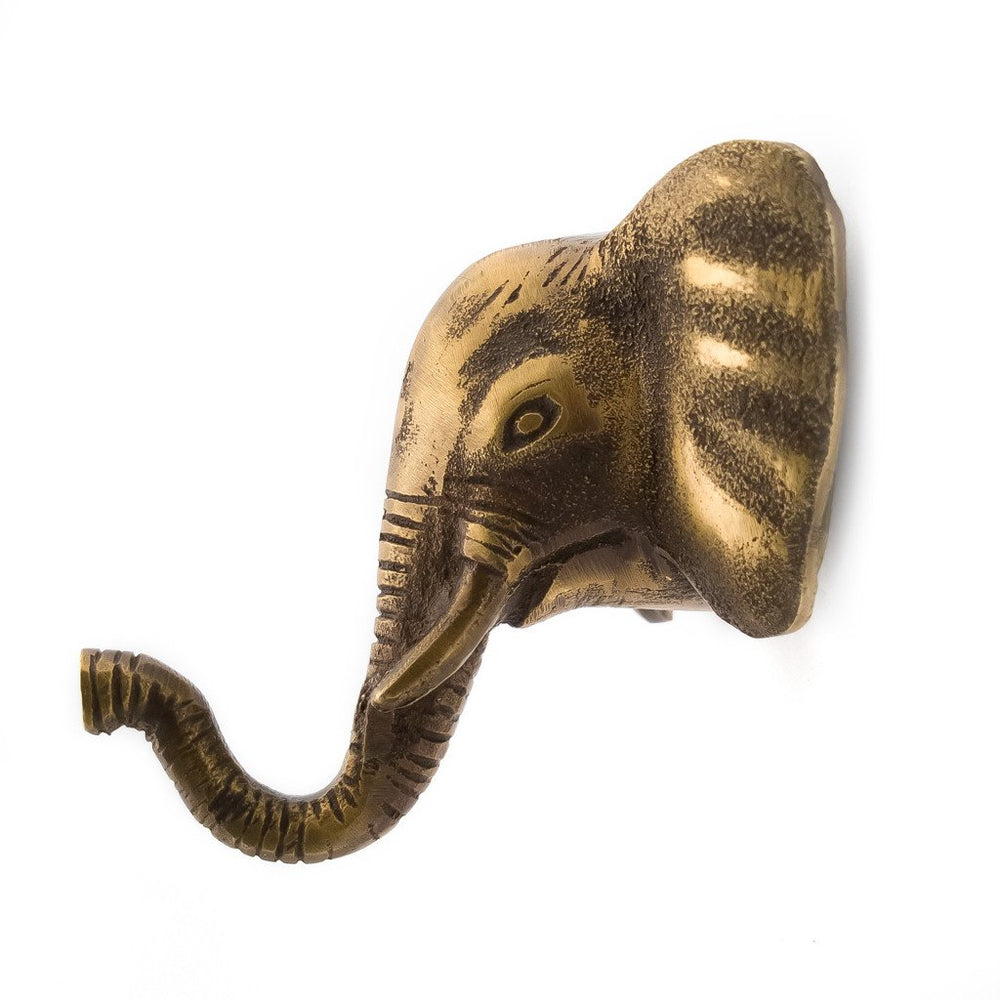 Hook Brass Elephant Antique Gold Color Wall
