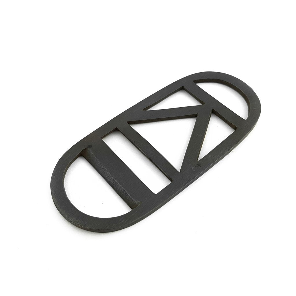 Bottle Opener Brass Black Triangle Stripe