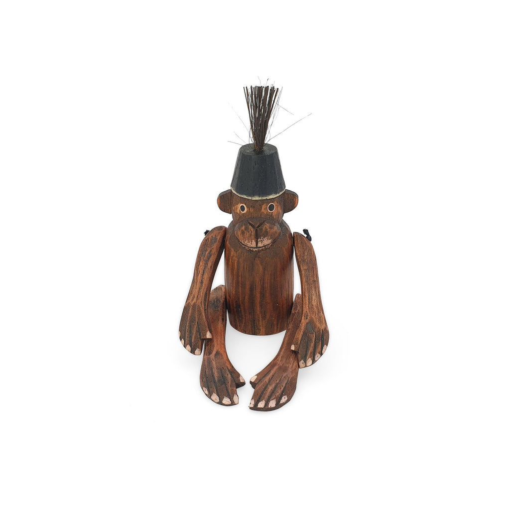 wooden monkey figurine black small