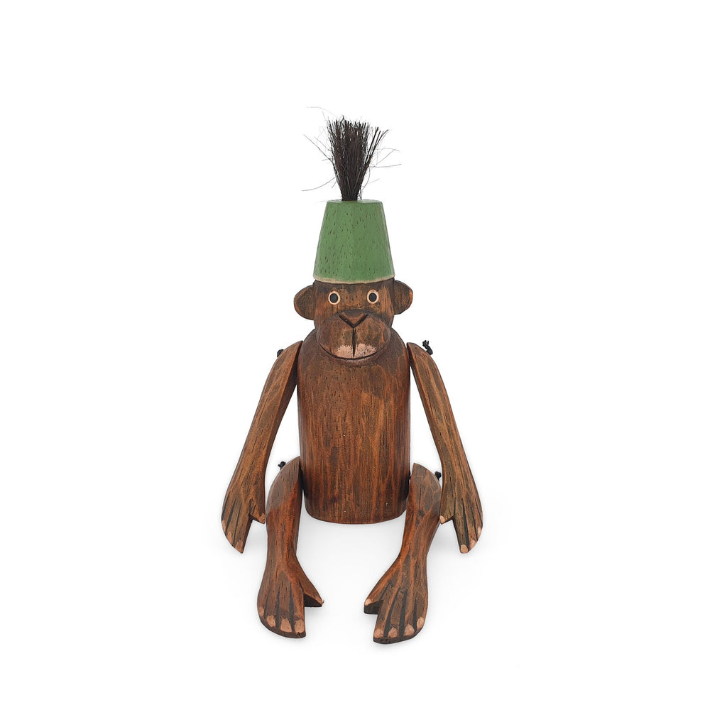 wooden monkey figurine green large